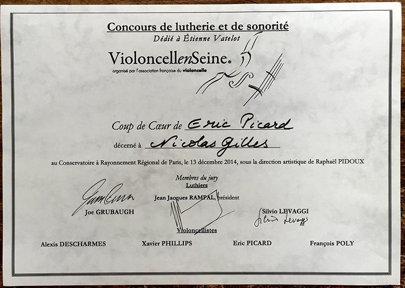 Coup de coeur Violoncelle-en-Seine 2014.